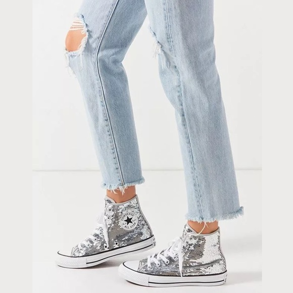 Iridescent Silver Sequin Sneaker   Poshmark